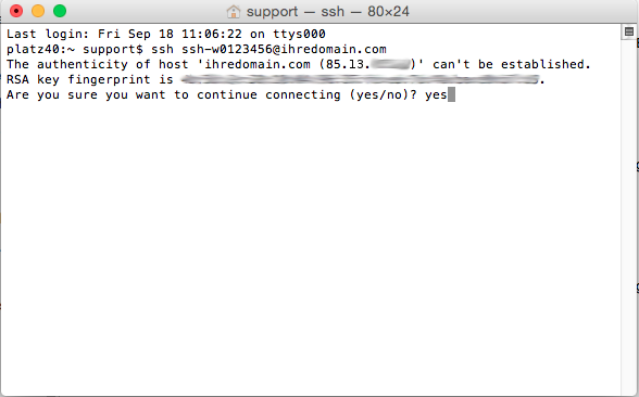 Dateiverwaltung - Verbindung mit Terminal auf MAC aufbauen (Passwort-Verfahren), Bild 4