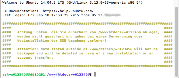 Dateiverwaltung - Verbindung mit Terminal auf MAC aufbauen (Passwort-Verfahren), Bild 6