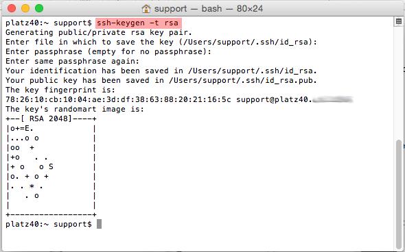 Dateiverwaltung - Verbindung mit Terminal auf MAC aufbauen (Public-Key-Verfahren), Bild 3