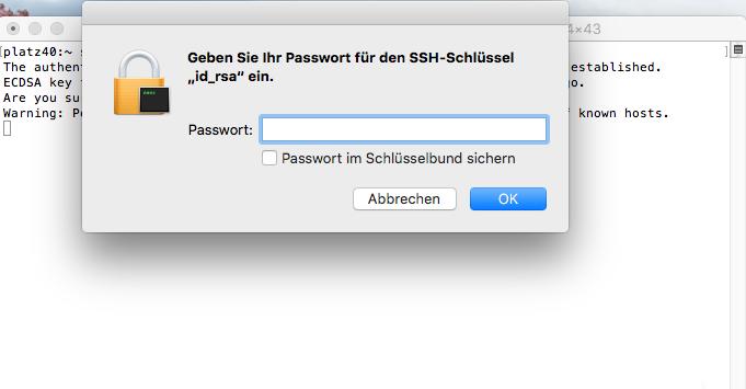 Dateiverwaltung - Verbindung mit Terminal auf MAC aufbauen (Public-Key-Verfahren), Bild 7