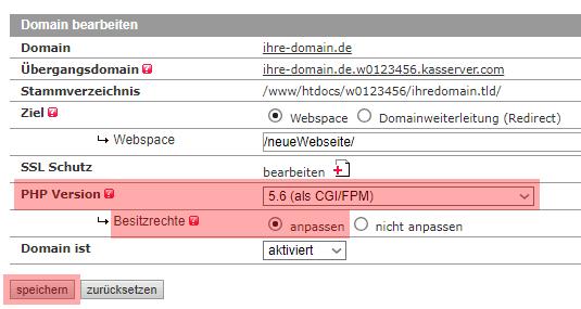 Migration der PHP Version - Prüfung, wenn derzeit PHP als Modul verwendet wird, Bild 3