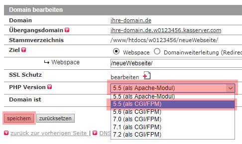 Migration der PHP Version - Prüfung, wenn derzeit PHP als Modul verwendet wird, Bild 4