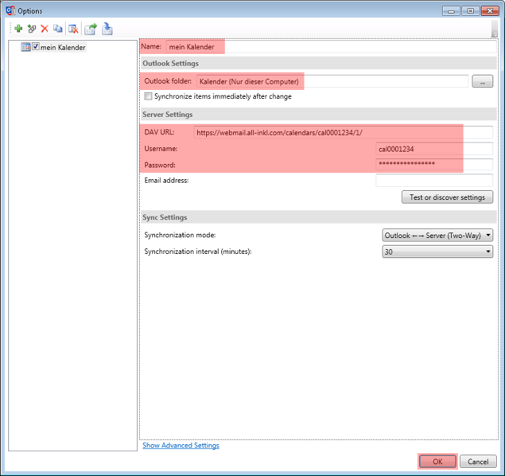 CalDAV - Kalenderfunktion - Outlook 2013, Bild 5