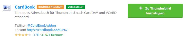 CardDAV - Synchronisierung von Kontakten - Thunderbird CardBook, Bild 1