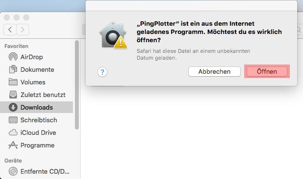 Routenverfolgung zu Domain per Tracert testen - Routenverfolgung mit PingPlotter (macOS), Bild 3