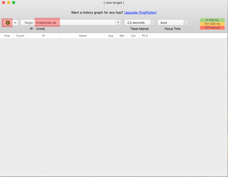 Routenverfolgung zu Domain per Tracert testen - Routenverfolgung mit PingPlotter (macOS), Bild 5