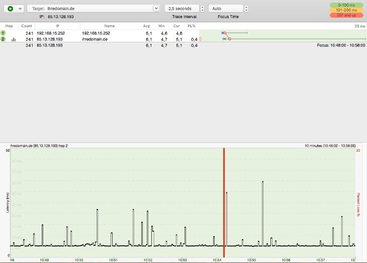 Routenverfolgung zu Domain per Tracert testen - Routenverfolgung mit PingPlotter (macOS), Bild 6