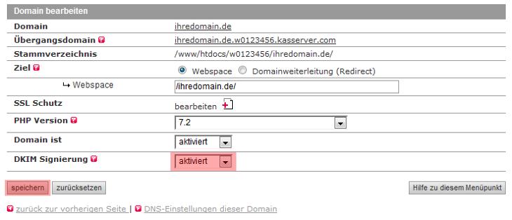DNS-Werkzeuge - DKIM (bei Versand über unsere Mailserver), Bild 3