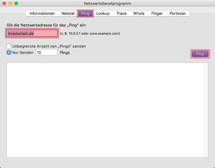 Domainerreichbarkeit per Ping testen - Anleitung über die MAC Oberfläche, Bild 3