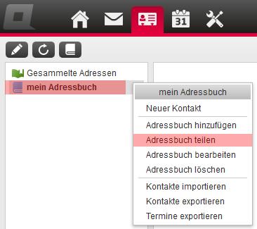 CardDAV - Synchronisierung von Kontakten - Einstellungen im WebMail anzeigen, Bild 5