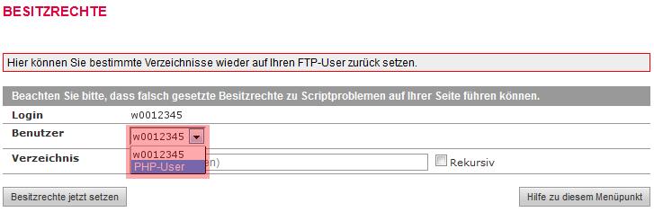 administrative Werkzeuge - Besitzrechte ändern (CHOWN) auf: PHP-User (www-data), Bild 3